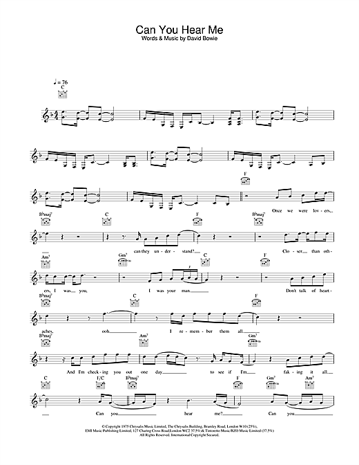 Download David Bowie Can You Hear Me sheet music and printable PDF score & Rock music notes