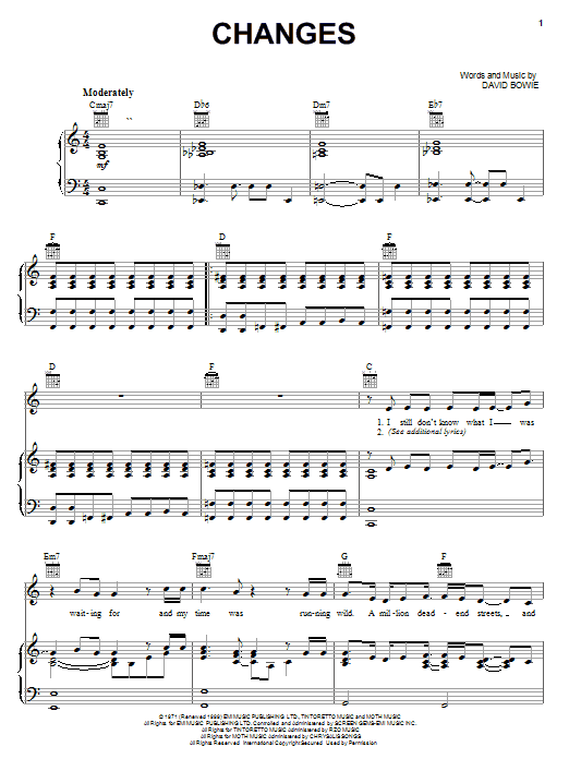 Download David Bowie Changes sheet music and printable PDF score & Rock music notes