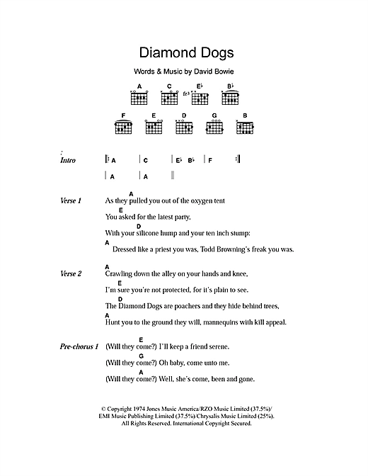 Download David Bowie Diamond Dogs sheet music and printable PDF score & Rock music notes