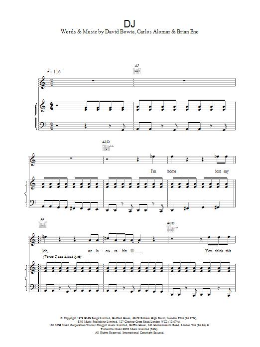 Download David Bowie DJ sheet music and printable PDF score & Rock music notes