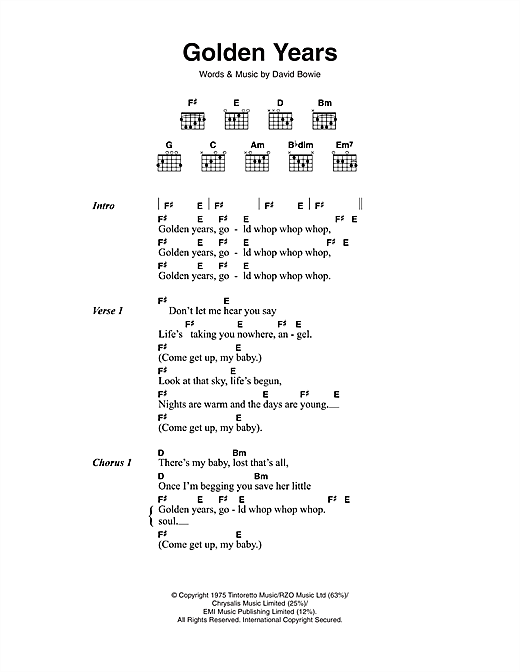 Download David Bowie Golden Years sheet music and printable PDF score & Rock music notes