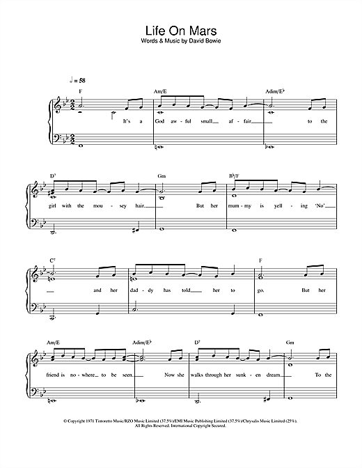 Download David Bowie Life On Mars? sheet music and printable PDF score & Rock music notes