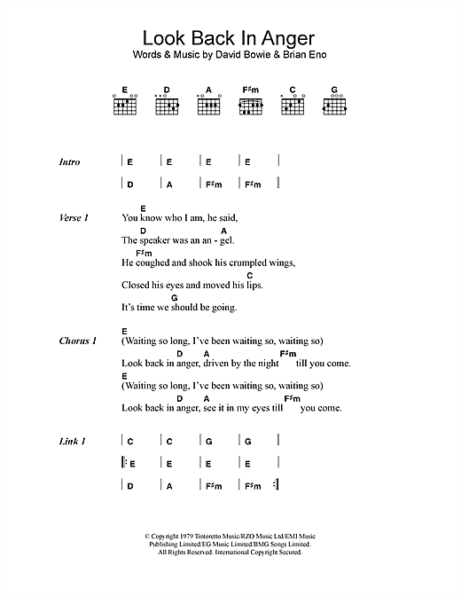 Download David Bowie Look Back In Anger sheet music and printable PDF score & Rock music notes