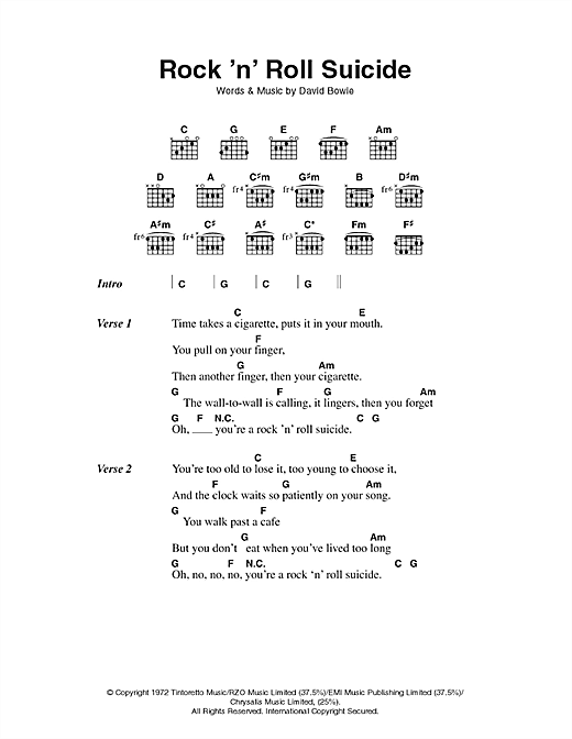 Download David Bowie Rock 'n' Roll Suicide sheet music and printable PDF score & Rock music notes