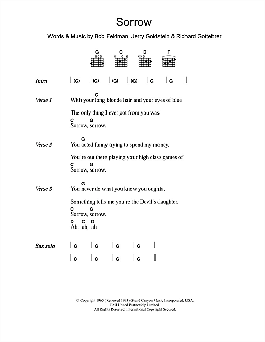 Download David Bowie Sorrow sheet music and printable PDF score & Rock music notes