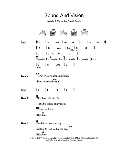 Download David Bowie Sound And Vision sheet music and printable PDF score & Rock music notes