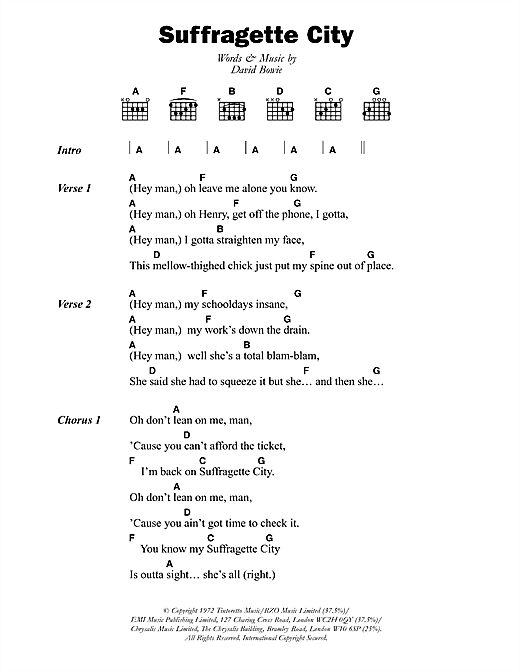 Download David Bowie Suffragette City sheet music and printable PDF score & Rock music notes
