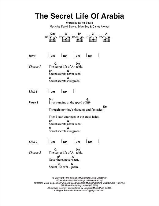 Download David Bowie The Secret Life Of Arabia sheet music and printable PDF score & Rock music notes