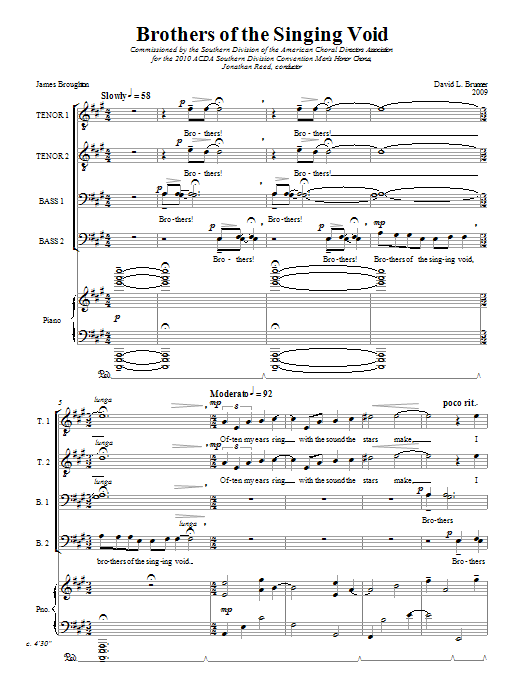 Download David Brunner Brothers Of The Singing Void sheet music and printable PDF score & Festival music notes