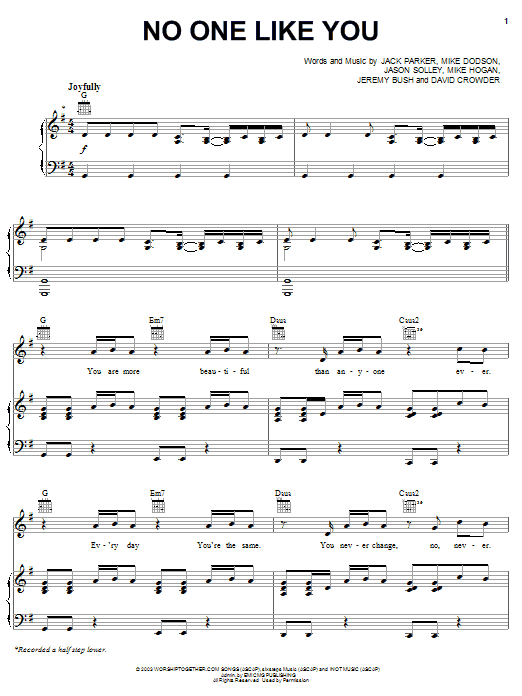 Download David Crowder Band No One Like You sheet music and printable PDF score & Pop music notes