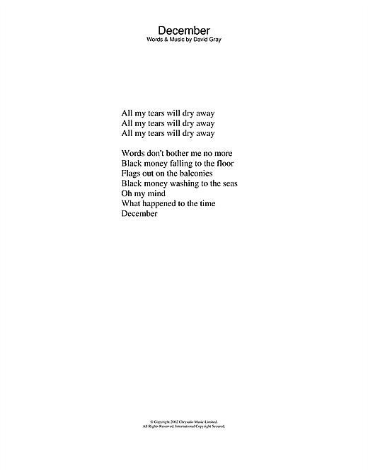 Download David Gray December sheet music and printable PDF score & Pop music notes