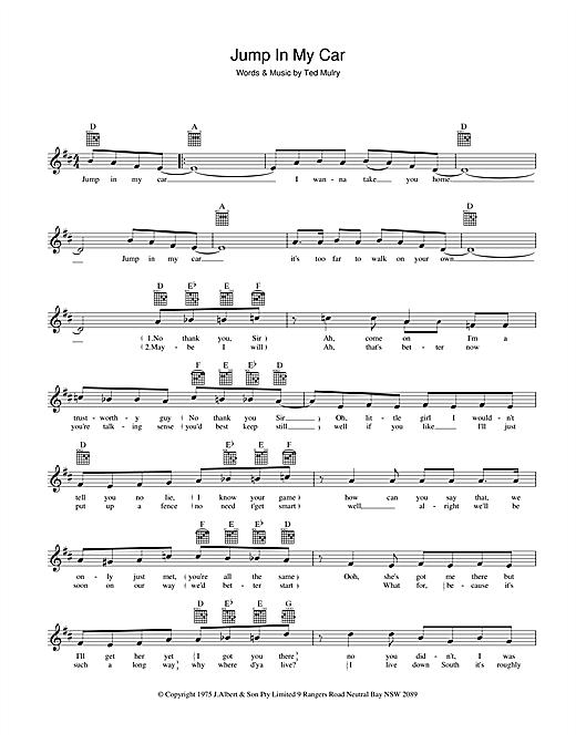Jump In My Car Sheet Music Notes David Hasselhoff Chords Download Rock Notes Melody Line Lyrics Chords Pdf Printable 39281