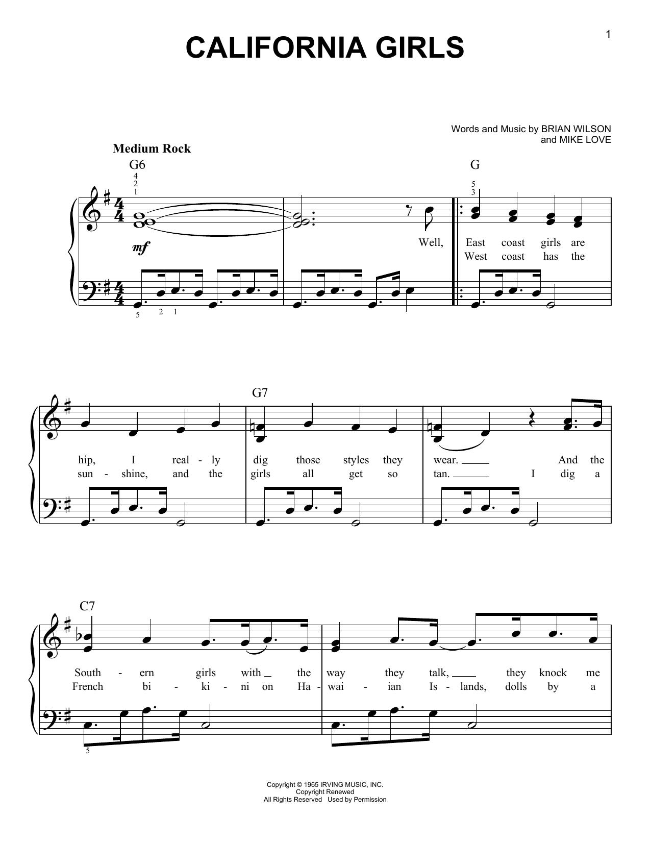 Download David Lee Roth California Girls sheet music and printable PDF score & Pop music notes