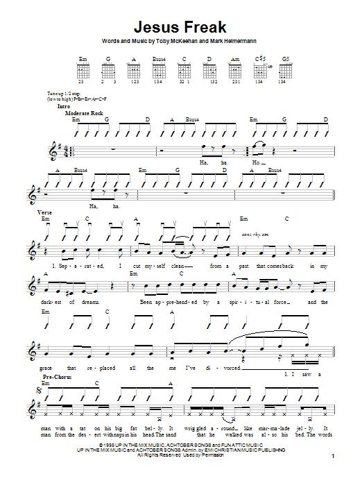 Download dc Talk Jesus Freak sheet music and printable PDF score & Rock music notes