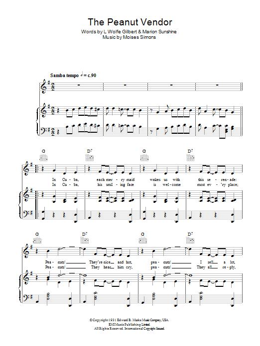 Download Dean Martin The Peanut Vendor sheet music and printable PDF score & Latin music notes