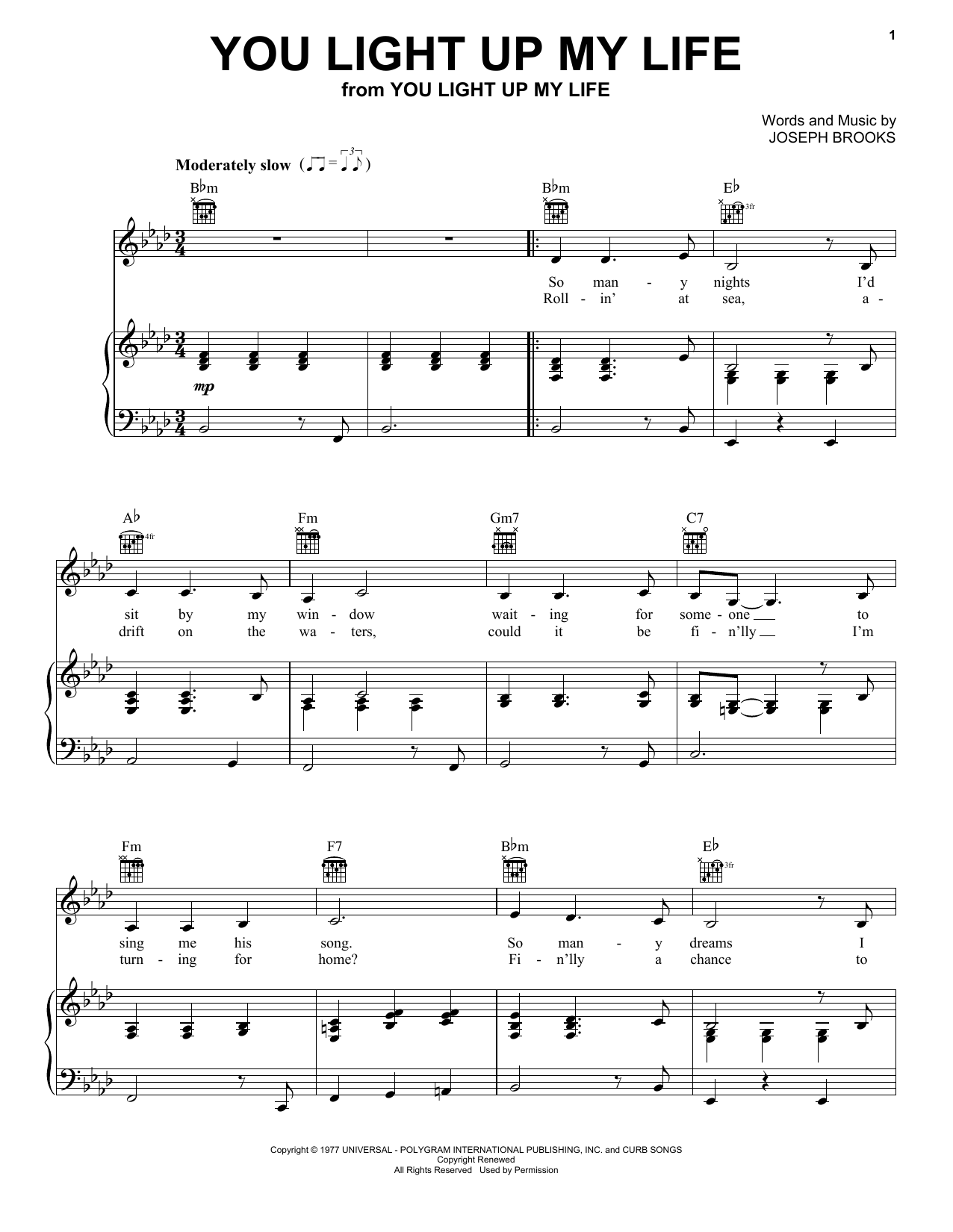 Download Debby Boone You Light Up My Life sheet music and printable PDF score & Religious music notes