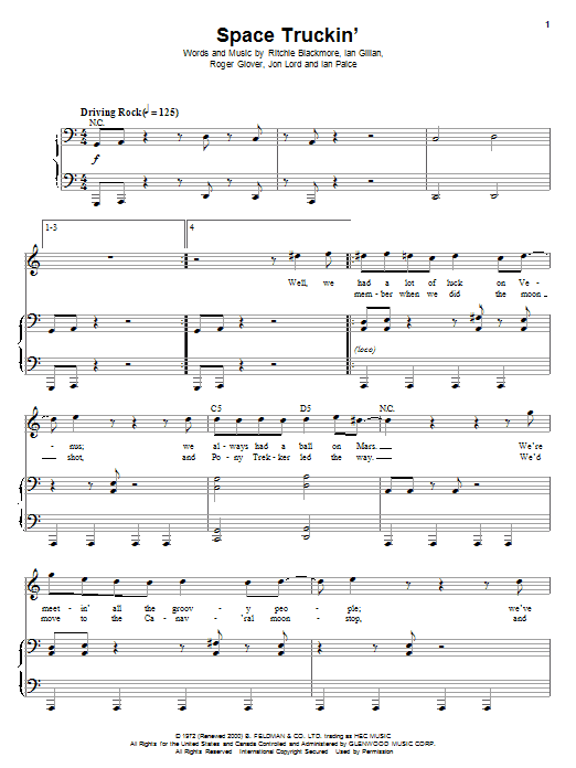 Download Deep Purple Space Truckin' sheet music and printable PDF score & Pop music notes