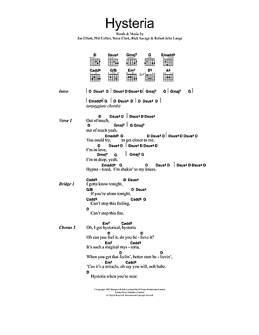 Download Def Leppard Hysteria sheet music and printable PDF score & Rock music notes