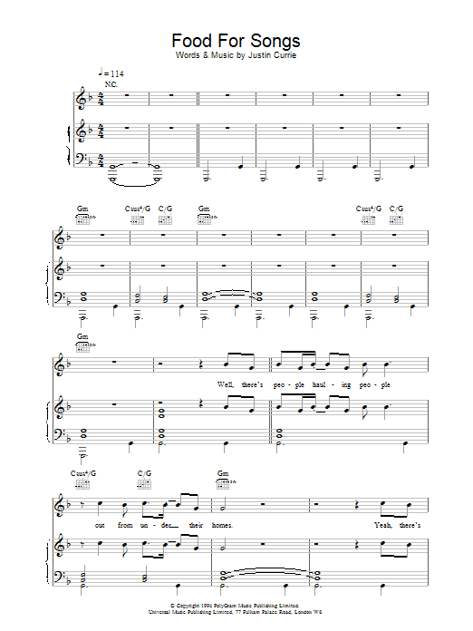 Download Del Amitri Food For Songs sheet music and printable PDF score & Rock music notes