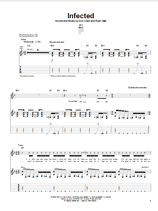 Download Demon Hunter Infected sheet music and printable PDF score & Rock music notes