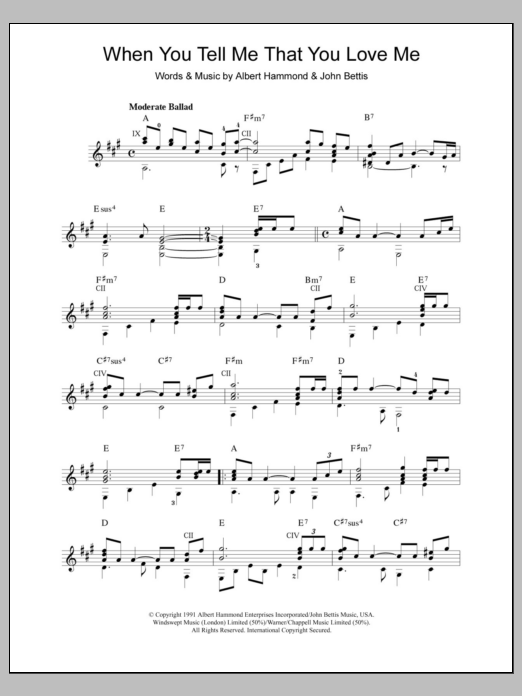 Download Diana Ross When You Tell Me That You Love Me sheet music and printable PDF score & Pop music notes