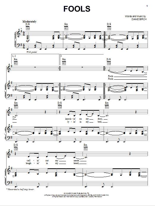Download Diane Birch Fools sheet music and printable PDF score & Pop music notes