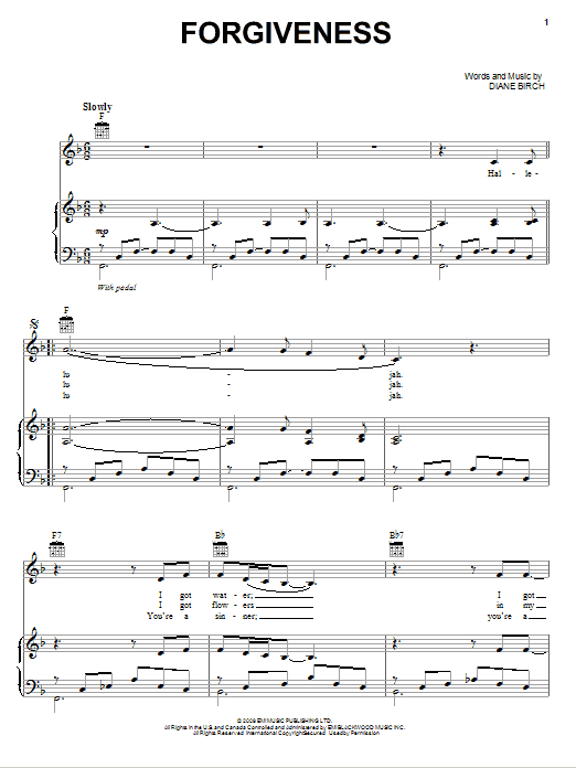 Download Diane Birch Forgiveness sheet music and printable PDF score & Pop music notes