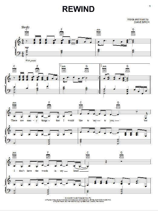 Download Diane Birch Rewind sheet music and printable PDF score & Pop music notes