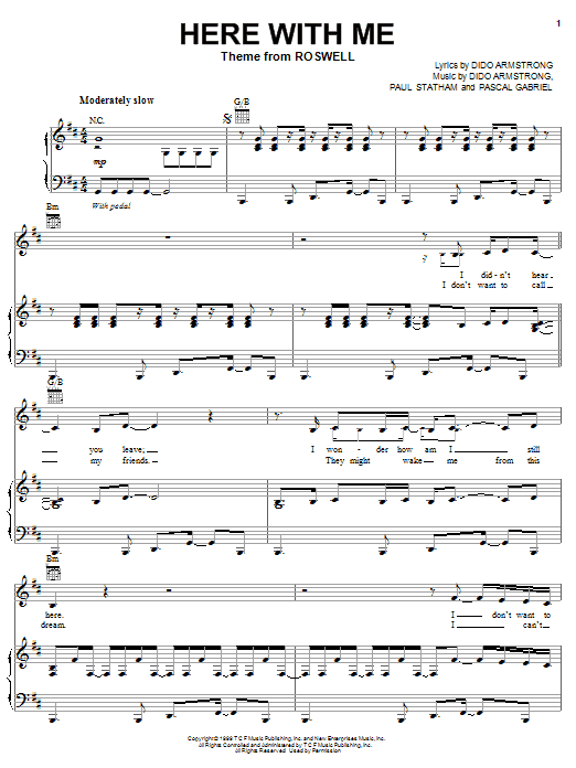 Download Dido Here With Me sheet music and printable PDF score & Rock music notes