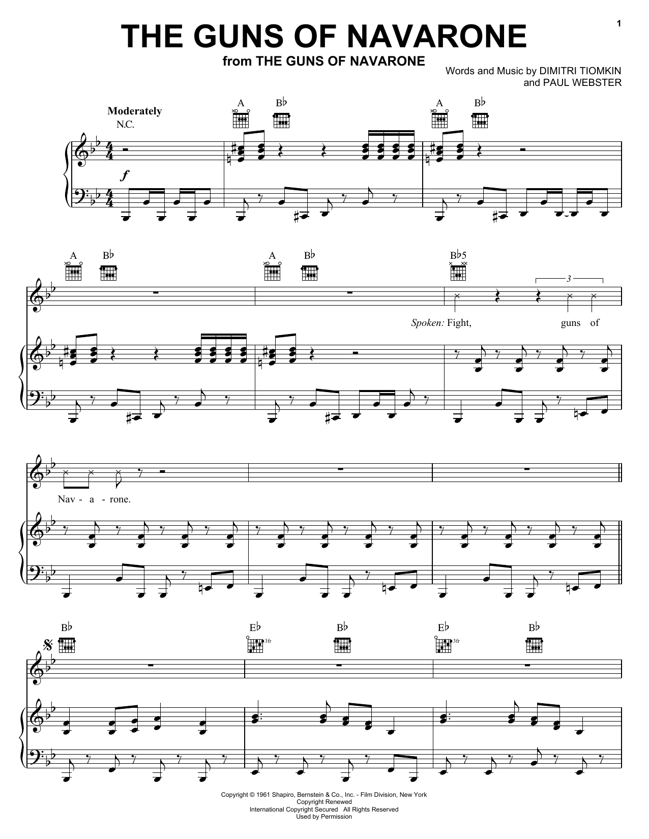 Download Dimitri Tiomkin The Guns Of Navarone sheet music and printable PDF score & Pop music notes