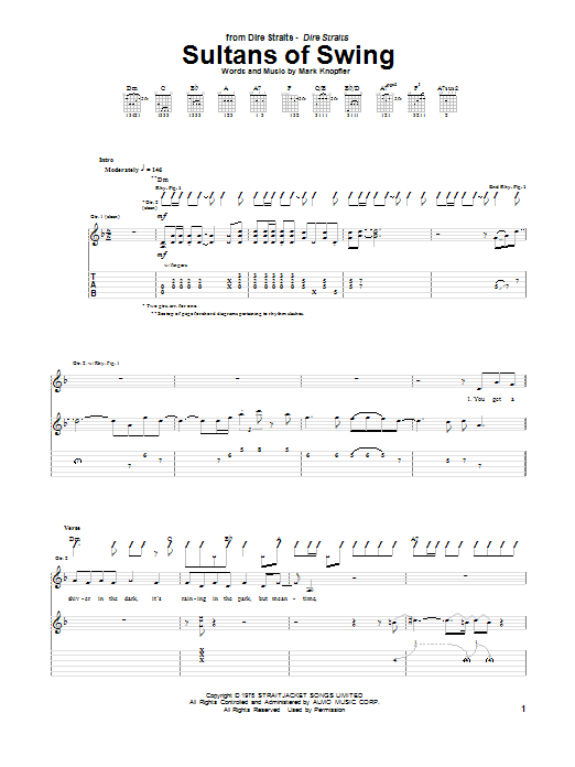 Download Dire Straits Sultans Of Swing sheet music and printable PDF score & Rock music notes