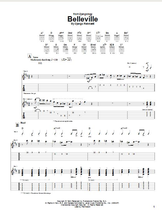 Download Django Reinhardt Belleville sheet music and printable PDF score & Jazz music notes