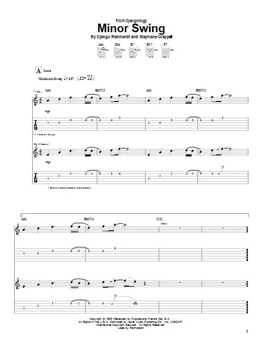 Download Django Reinhardt Minor Swing sheet music and printable PDF score & Jazz music notes