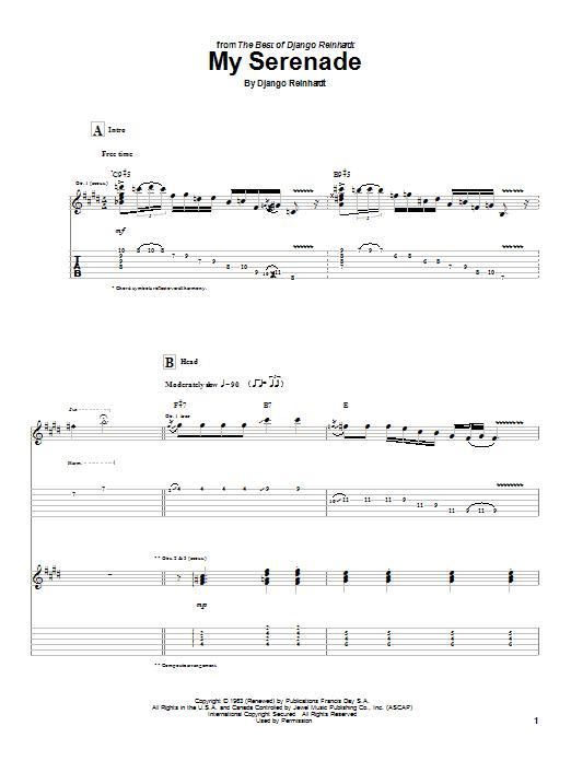 Download Django Reinhardt My Serenade sheet music and printable PDF score & Jazz music notes