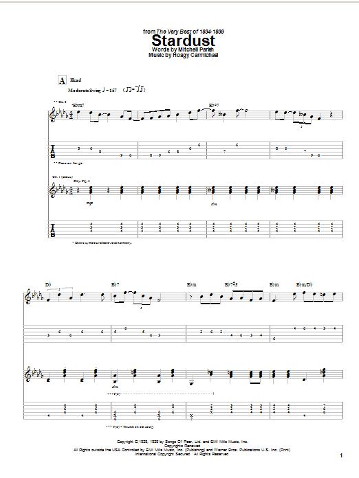 Download Django Reinhardt Stardust sheet music and printable PDF score & Jazz music notes