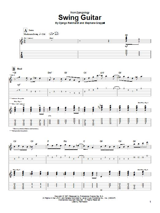 Download Django Reinhardt Swing Guitar sheet music and printable PDF score & Jazz music notes