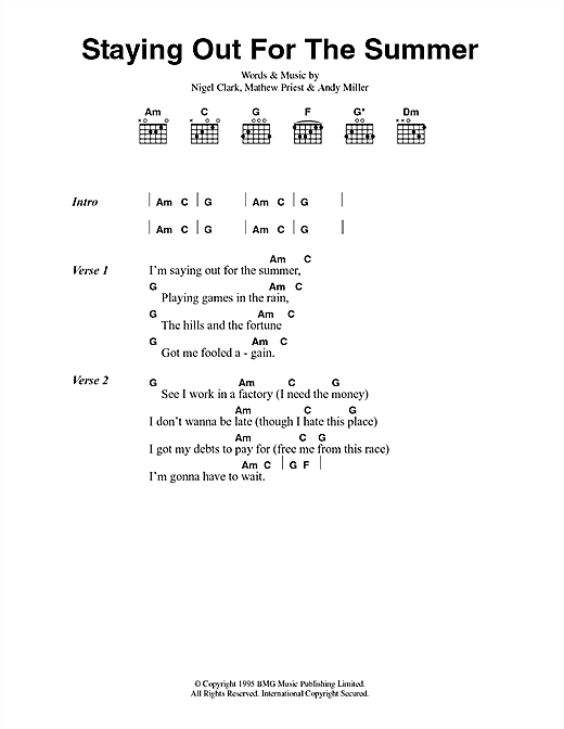 Download Dodgy Staying Out For The Summer sheet music and printable PDF score & Pop music notes