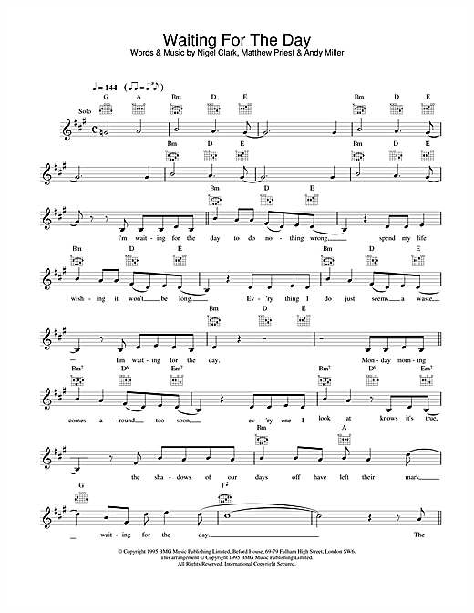 Download Dodgy Waiting For The Day sheet music and printable PDF score & Rock music notes