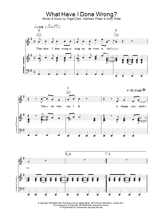 Download Dodgy What Have I Done Wrong sheet music and printable PDF score & Rock music notes