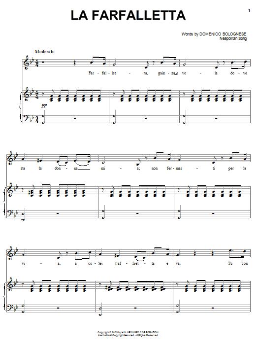Download Domenico Bolognese La farfalletta sheet music and printable PDF score & World music notes