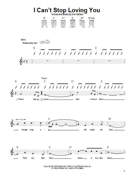 Download Don Gibson I Can't Stop Loving You sheet music and printable PDF score & Pop music notes