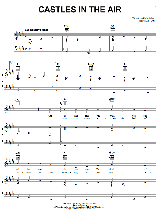 Download Don McLean Castles In The Air sheet music and printable PDF score & Pop music notes