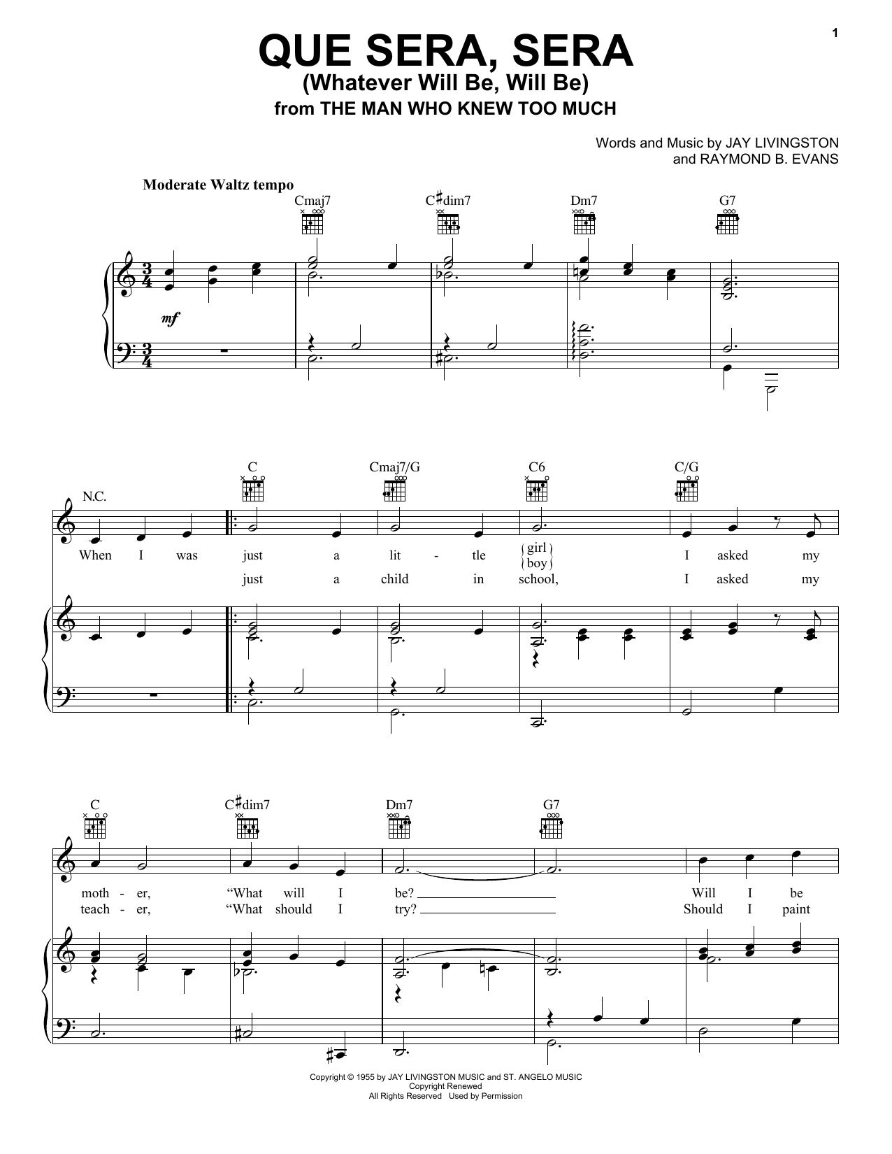 Download Doris Day Que Sera, Sera (Whatever Will Be, Will Be) sheet music and printable PDF score & Film and TV music notes
