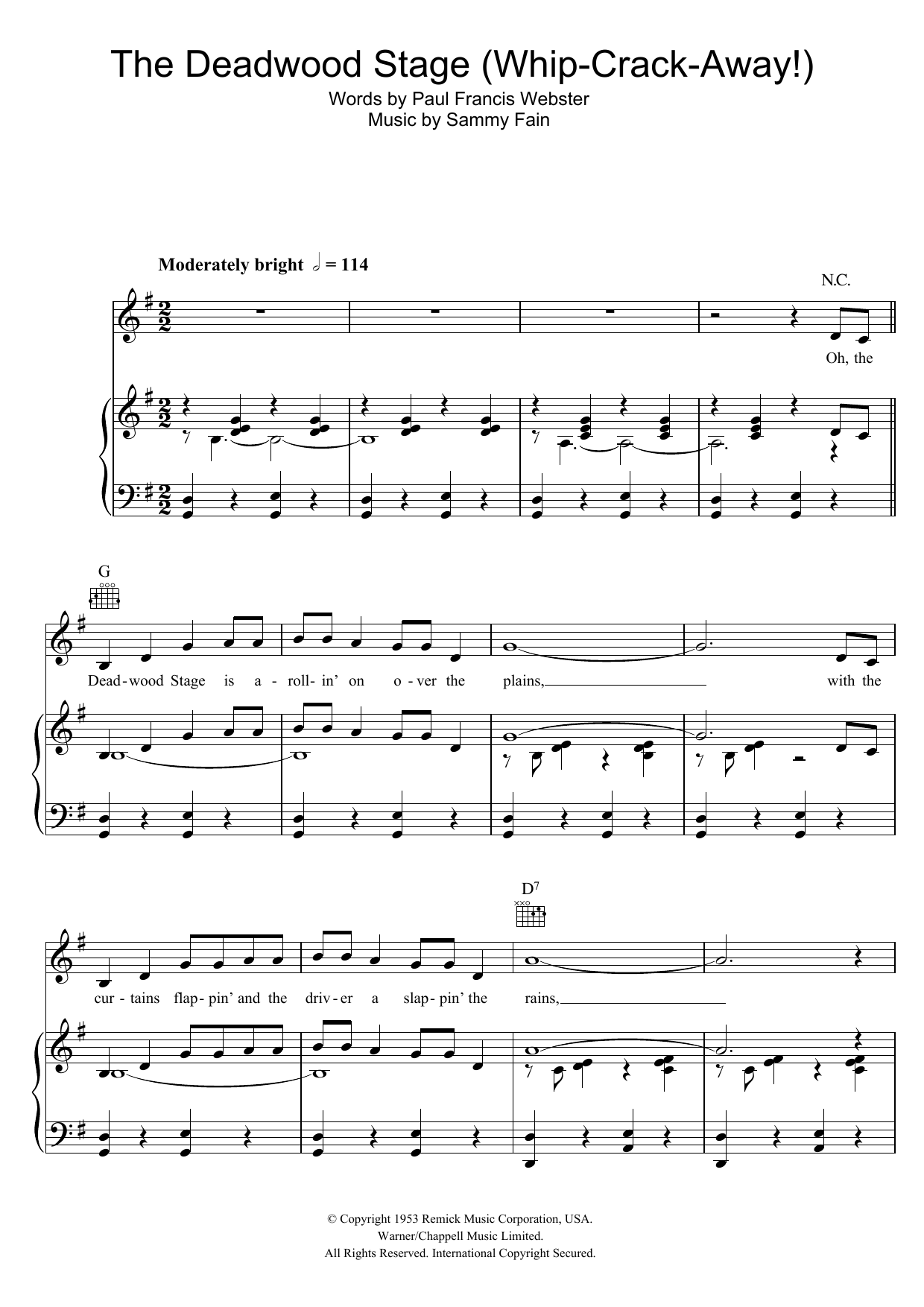 Download Doris Day The Deadwood Stage (Whip-Crack-Away) sheet music and printable PDF score & Easy Listening music notes