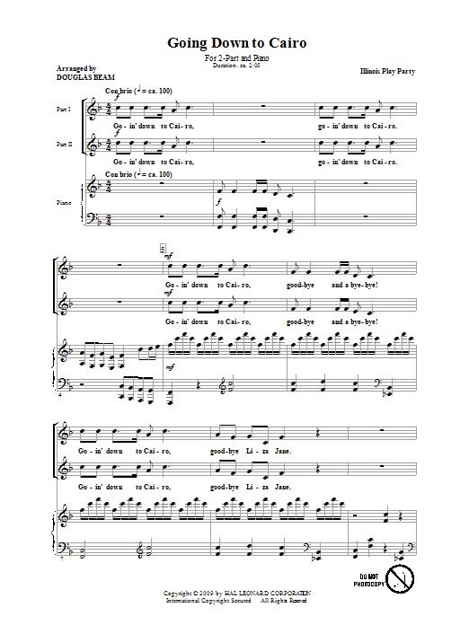 Download Douglas Beam Going Down To Cairo sheet music and printable PDF score & Children music notes