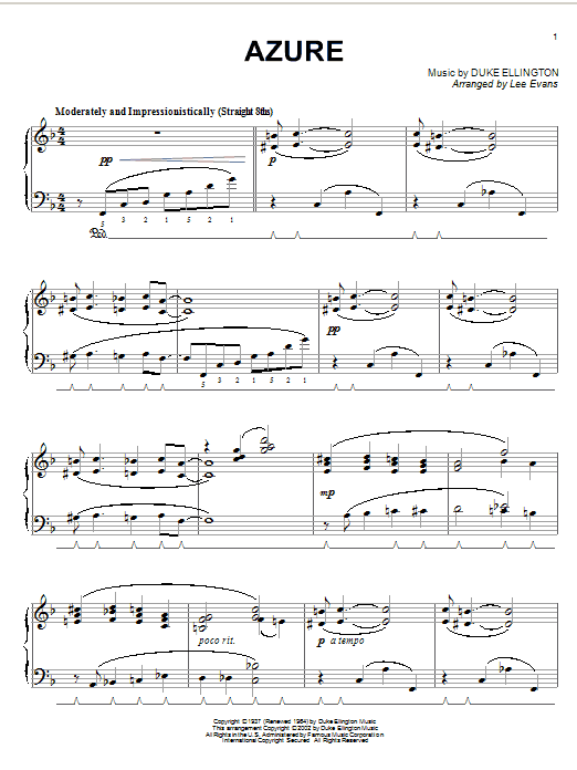 Download Duke Ellington Azure sheet music and printable PDF score & Jazz music notes