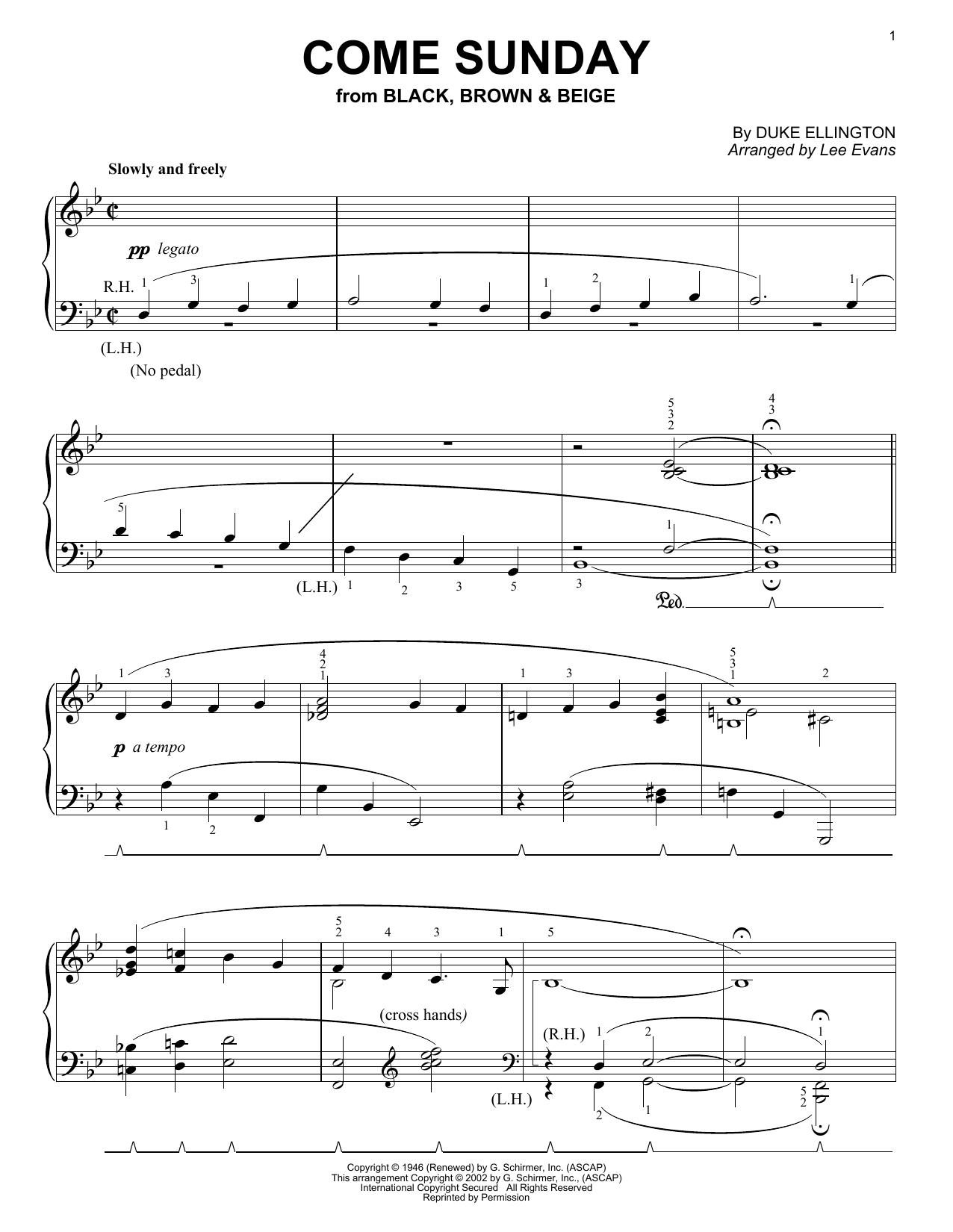 Download Duke Ellington Come Sunday sheet music and printable PDF score & Folk music notes