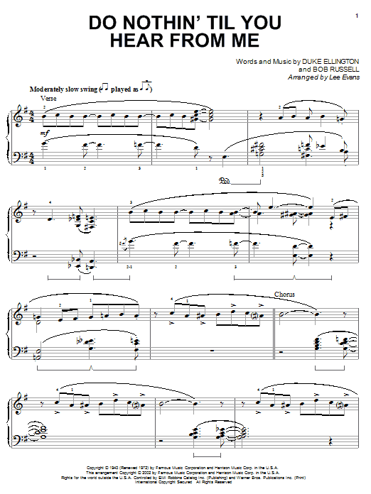 Download Duke Ellington Do Nothin' Till You Hear From Me sheet music and printable PDF score & Jazz music notes