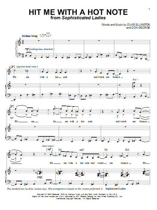 Download Duke Ellington Hit Me With A Hot Note sheet music and printable PDF score & Jazz music notes