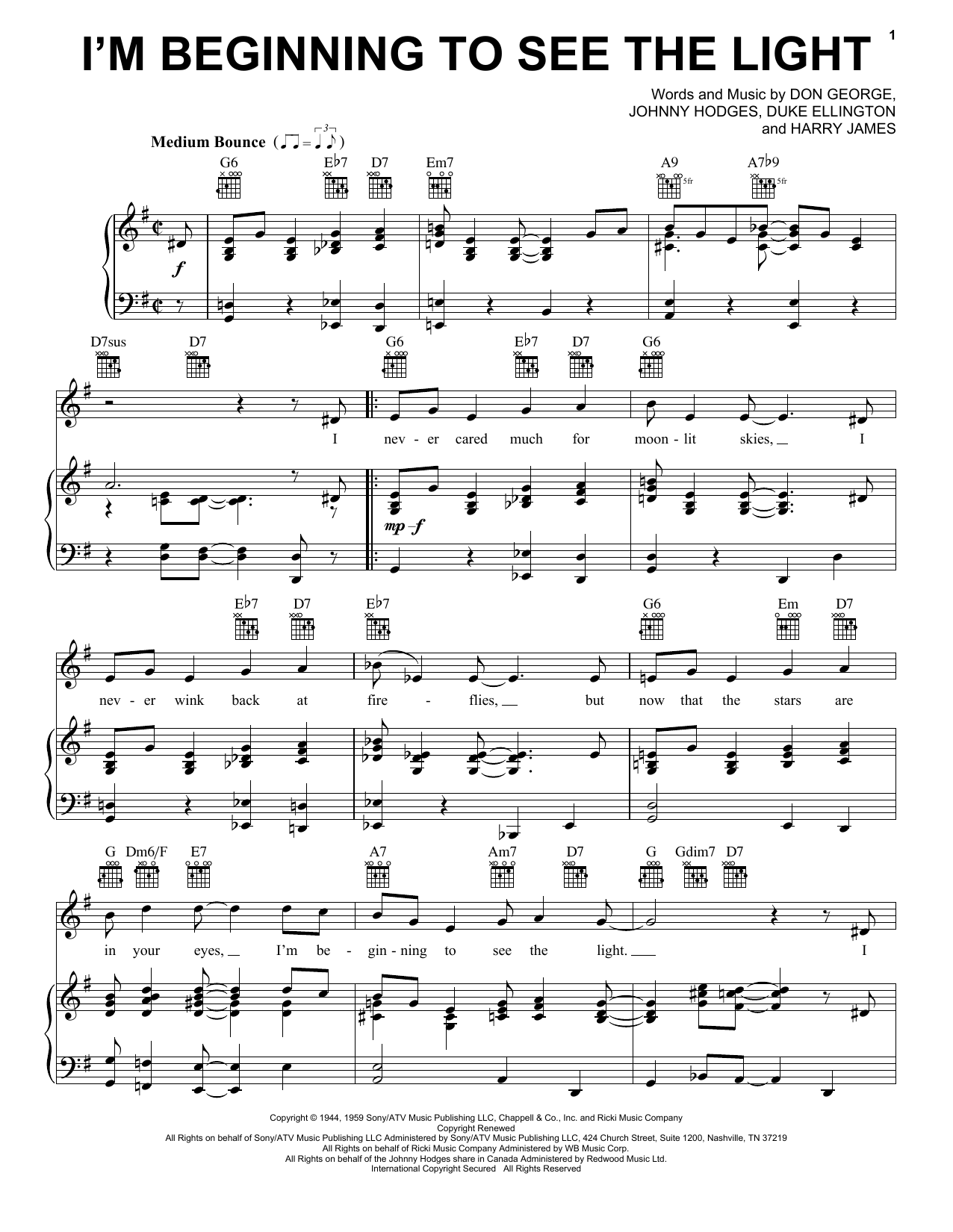 Download Duke Ellington I'm Beginning To See The Light sheet music and printable PDF score & Folk music notes